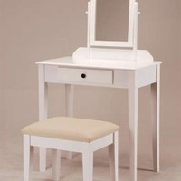 White Founder Wooden Vanity Set w/ Stool & Mirror