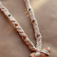 Sharks Tooth Macrame Hemp Necklace - Natural Hippie Bohemian
