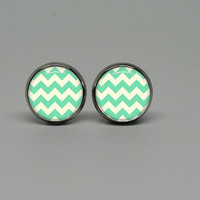 Silver Stud Post Earrings with Mint Chevron