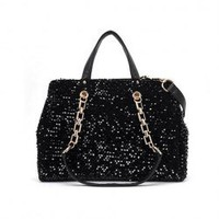 Stylish Women's Shoulder Bag With Vintage Sequins Chain Zipper Design