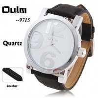 Oulm Black Leather Watch for Men with Numeral-6/9/12 Indicate Time White Round Shaped