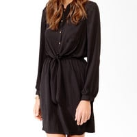 Knotted Crest Button Shirtdress | LOVE21 - 2025101556