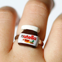 Nutella ring Polymer clay miniature food kawaii sweet chocolate jar adjustable ring
