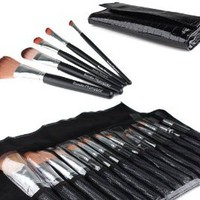 Bundle Monster 15pc Studio Pro Makeup Make Up Cosmetic Brush Set Kit w/ Black Faux Crocodile Case - For Eye Shadow, Blush, Eyeliner, Etc.