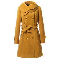 Double-layers Collar Fitted Belt Yellow Coat