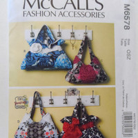 New McCalls pattern lined purse handbag tote bag bow flower  fashion accessories four styles uncut