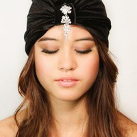 Black Velvet Crystal Flapper Style Full Turban Headband Earw