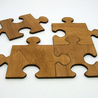 Wooden Jigsaw Puzzle Coasters set