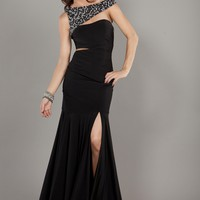 Jovani 2136 Black One Shoulder Prom Gown