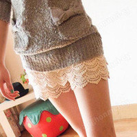 HOT Fashion Mini Lace Tiered Short Skirt Under Safety Pants Girl's Shorts