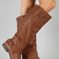Soda Palma-S Buckle Riding Knee High Boot