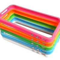 Combo 2Tone Colorful Premium Bumper Case for AT&amp;T Apple iPhone 4/4G - 5 Piece