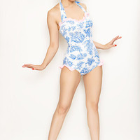 White & Light Blue Toile De Jouy Print Pink Ruffle One Piece Swimsuit - S to XL - Unique Vintage - Cocktail, Evening  Pinup Dresses