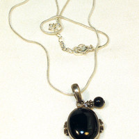Black Onyx Sterling Silver Pendant on Cord Necklace