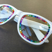 Rave light show glasses- white with rainbow rhinestones