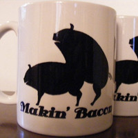 Makin Bacon Coffee Mug Ceramic Cups with Pigs Funny by Mugsleys