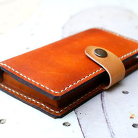 NEW iPhone 5 Hand Stitched Wallet Leather Case - Cognac Billfold Men's Wallet leather Unisex / Men Gift