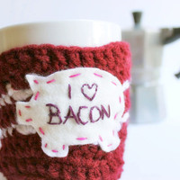 Bacon Coffee Mug Cozy Tea Cup red white crochet by KnotworkShop