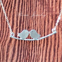 Silver Love Birds on a Branch Necklace by ReinaJewelry on Etsy