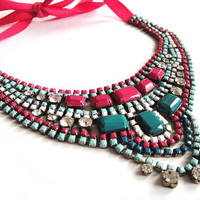 Rhinestone necklace bib statement in hot pink mint by OOAKjewelz