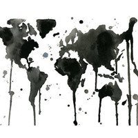 It's a Black and White World Watercolor Map by JessicaIllustration