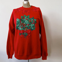 ugly christmas sweater. puff paint awesomeness. oversized sweatshirt with mistletoe.