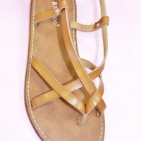 Camel Strappy Sandal - Amour Boutique