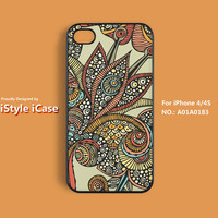 iPhone 4 Case , iPhone 4s Case - Argos Floral, Floral iPhone Case, Plastic Hard Case, Soft Rubber Case, Case For iPhone - A01A0183