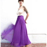 royal treatment. vintage royal purple long flowing silk skirt. high waisted full length. size medium