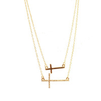 Double Cross Pendant Necklace -  $5 Shipping