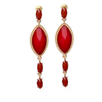 Deep Red Earrings - Furor Moda - Tops - Dresses - Jackets - Vintage
