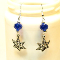 Blue Beaded Filigree Jewish Star Earrings