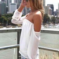 White Off the Shoulder Top with Sheer Chiffon Sleeves