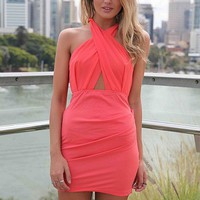Coral Fitted Dress with Criss-Cross Front &amp; Back