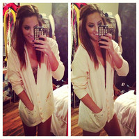 Studded Dip Dyed Oversized Light Pink Cardigan Sweater Sz. Large