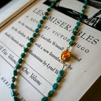Clearance Sale - Turquoise and Sun Necklace, Sunflower Swarovski Crystal, Stocking Stuffer, Christmas