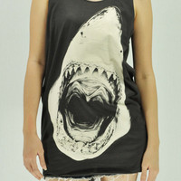 SHARK T Shirts Tank Top Tunic Blouse women handmade silk screen printing