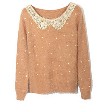 Scoop Neck Paillette Camel Jumpers(Coming Soon) [NCSWJ0260] - $40.99 :