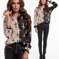NWT TAUPE BLACK CROSS PRINT SHEER BUTTON UP CHIFFON LONG Sleeve Top Blouse Tunic