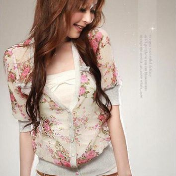 Women Korean Chiffon Floral Fashion Button V-neck Stretchy Waist Hot Outwear Top