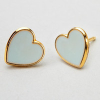 Mint Tea Mini Hearts | Gold Trim Mint Heart Earrings | fredflare.com