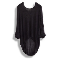 New Batwing Womens Ladies Casual Loose Asymmetric Knit Coat Top Sweater Lady