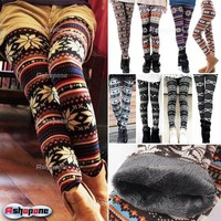 Women's Nordic Deer Snowflake Knitted Leggings Winter Thick Warm Tights Pants