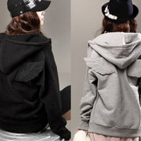 Womens Girl Cute Back Angel Wings Zip Up Leisure Sweatshirt Fleece Hoodie