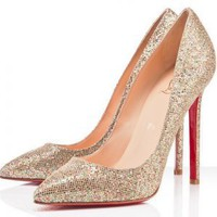 Christian Louboutin Pigalle 120mm Gold Pumps - $228.00