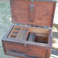 Vintage Wooden Handled Tool Storage Chest by C3L35T3 on Etsy