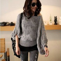Korean Fashion Women Casual Loose Hollow Batwing Sleeve Sweater Knit Top 2 Color