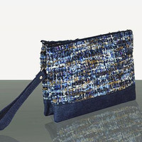 Blue Clutch - MIAETMOI clutch handbag - Boucle - Leather