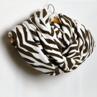 Cream Brown Zebra Design Polar Fleece Plush Cowl , Loop Infinity Scarf