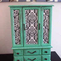 Beautiful Large Mint Green Wooden Jewelry Box